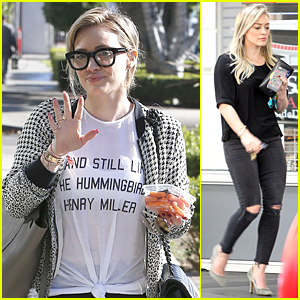 b2ace270c4 Hilary Duff s Thick-Rimmed Eyeglasses Make Her Look So Smart Chic ...