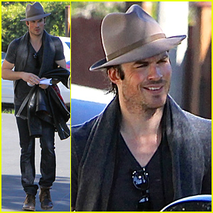 Ian Somerhalder Gets a Ride Home From Nikki Reed's House