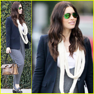 Jessica Biel Conceals Baby Bump in Loose-Fitting Jumpsuit