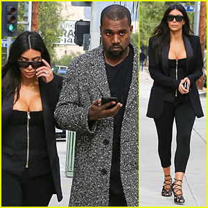 Kim Kardashian's Sexy Cleavage Doesn't Distract Kanye West at Recording Studio