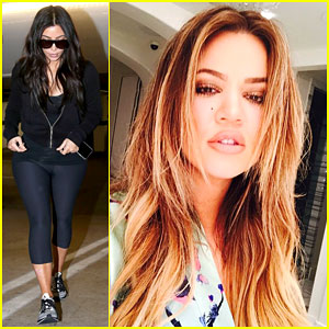 Kim Kardashian Works On Her Fitness While Khloe Goes Back to Blonde