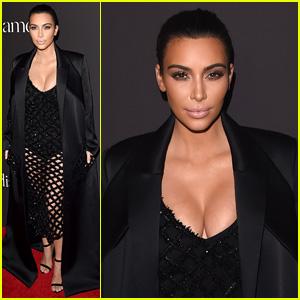 Kim Kardashian Flaunts Legs & Cleavage in Sparkly Mesh Dress at Diamond Ball 2014