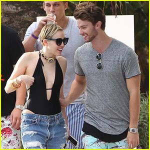 Miley Cyrus & Patrick Schwarzenegger Get Flirty Poolside in Miami with Cody Simpson