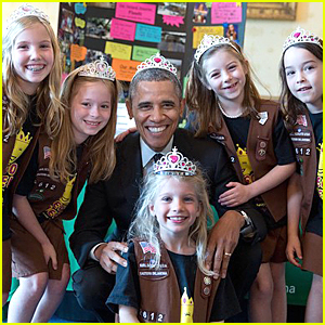 President Obama Wears Tiara For Girl Scouts & Breaks His Own Hat Rule!