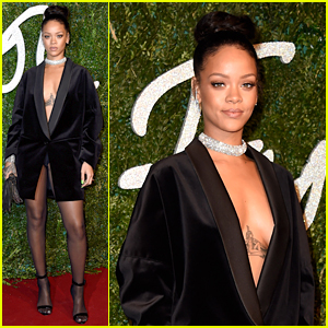 Rihanna Wears Just a Blazer, Shows Some Skin at British Fashion Awards 2014