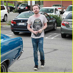 Aaron Paul Shows Off His Retro Looking Car While Shopping
