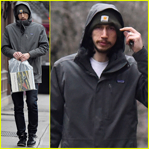 Adam Driver Stocks Up on Edward Hopper Books in Rainy NYC!