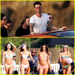 Adam Levine Films Video with the VS Angels in Puerto Rico!