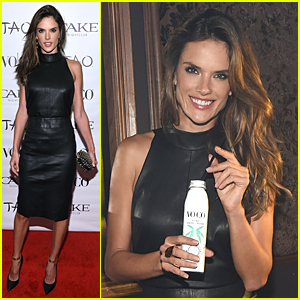 Alessandra Ambrosio Rocks Sexy Black Leather Dress to Host Super Bowl Party