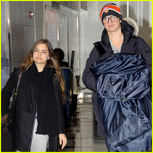 Ansel Elgort Lands in D.C. with Ex-Girlfriend Violetta Komyshan