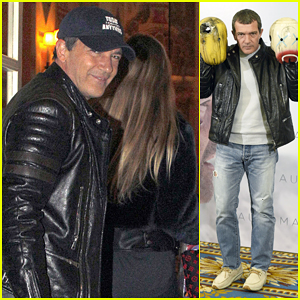 Antonio Banderas Arrives in Spain with Girlfriend Nicole Kempel to Begin 'Automata' Promo!