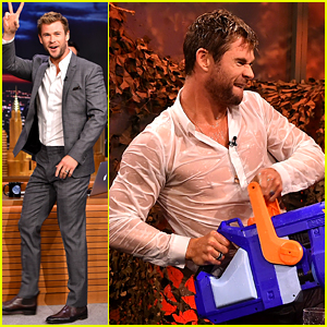 Chris Hemsworth's Shirt Becomes Totally See Through During Jimmy Fallon's Water War!