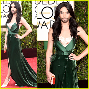 Conchita Wurst is Gorgeous Green & Unstoppable on Golden Globes 2015 Red Carpet