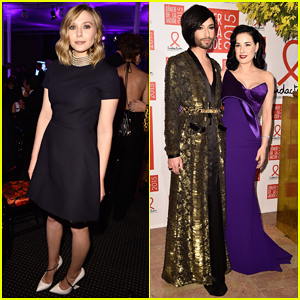 Elizabeth Olsen Supports Fight Against AIDS with Dita Von Teese & Conchita Wurst at Sidaction Gala Dinner 2015