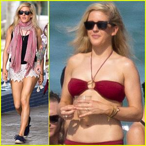 Ellie Goulding Rocks Red Bikini During Miami Yacht Ride