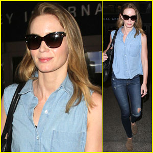 Emily Blunt Returns to L.A. After Jetting Off to Europe