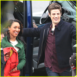 Grant Gustin & Candice Patton Film Romantic Scene for 'The Flash'