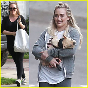 Hilary Duff Cradles Her French Bulldog Puppy Like a Baby