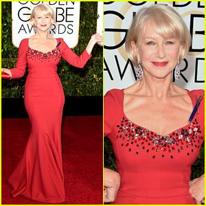 Helen Mirren Rocks a Fitted Red Dress at the Golden Globes 2015