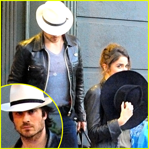 Ian Somerhalder & Nikki Reed Cover Up with Hats at Lunch