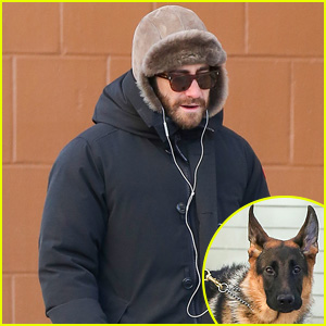 Jake Gyllenhaal Walks Pup Leo Ahead of Golden Globes