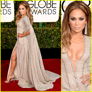 Jennifer Lopez Shows Tons of Leg at the Golden Globes 2015