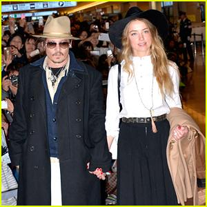 Johnny Depp & Amber Heard Hold Hands Upon Japan Arrival!