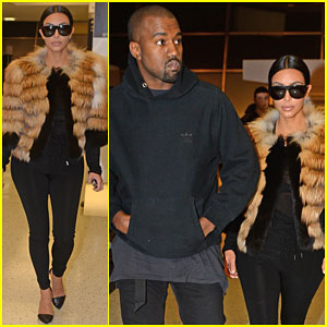 Kim Kardashian Makes a Statement in Fur Before Catching a Flight with Kanye West