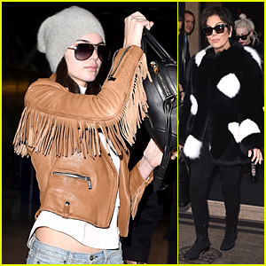 Kendall Jenner & Mom Kris Jet Out of Paris After Nipple Baring Fashion Show