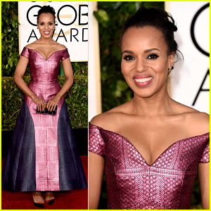 Kerry Washington Stuns in Two Toned Dress at Golden Globes 2015