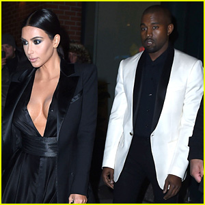 Kim Kardashian Flaunts Cleavage at Dinner with Kanye West