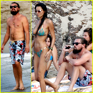 Leonardo DiCaprio Hits St. Barts Beach Surrounded by Women