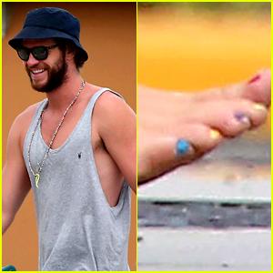 Liam Hemsworth Paints His Toenails the Colors of the Rainbow