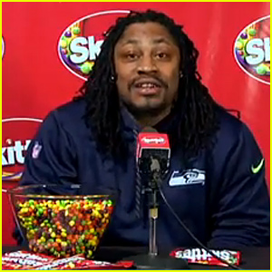 Marshawn Lynch Loves Skittles Just as Much as Football - Watch Now!