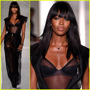 Naomi Campbell Walks Paris Runway in Sexy Sheer Lingerie