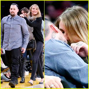 Newlyweds Cameron Diaz & Benji Madden Kiss at Lakers Game