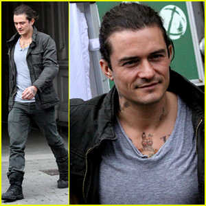 Orlando Bloom Sports Neck Tattoos for 'Unlocked' Filming