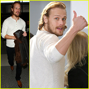 Outlander's Sam Heughan Flies Out of Town Looking Swoon-Worthy!