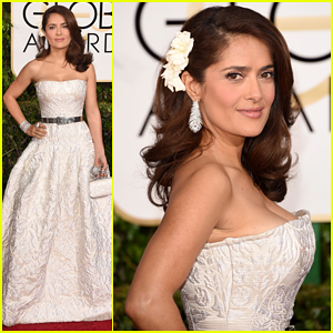 Salma Hayek Is The Lady in White at the Golden Globes 2015 Red Carpet!