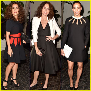 Salma Hayek & Minnie Driver Rock Big Curls for Pre-Golden Globes Party 2015