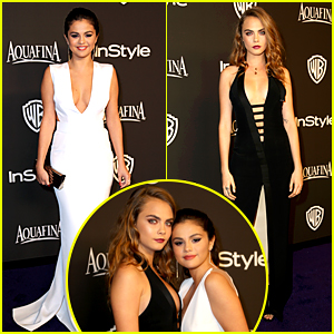 Selena Gomez & Cara Delevingne Buddy Up at InStyle Golden Globes Party 2015