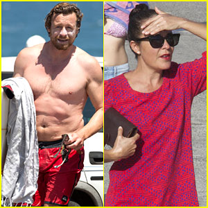 Simon Baker Shows Off His Shirtless Body Surfing