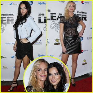 Adriana Lima & Erin Heatherton Buddy Up for Leather & Laces Super Bowl 2015 Party