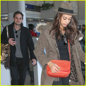 Newlyweds Amber Stevens & Andrew J. West Fly Off To Indianapolis
