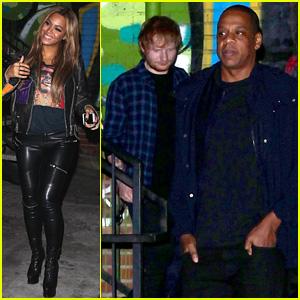 Beyonce & Jay Z Grab Dinner with Ed Sheeran in Los Angeles