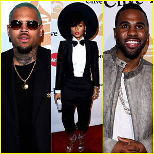 Chris Brown Rocks Blue Hair for Pre-Grammys Party