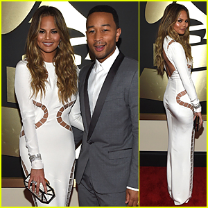 Chrissy Teigen Shows Off Underboob In Sexy Revealing Dress at Grammys 2015