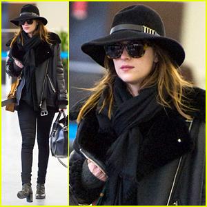 Dakota Johnson Takes the Red Eye Flight After Oscars 2015