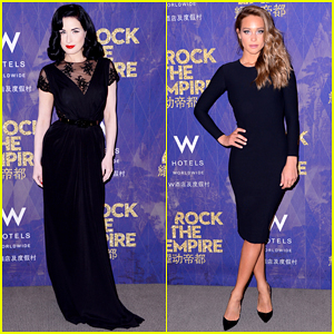 Dita Von Teese & Hannah Davis Celebrate W Beijing Opening at Global 'Rock the Empire' Tour Kick Off!