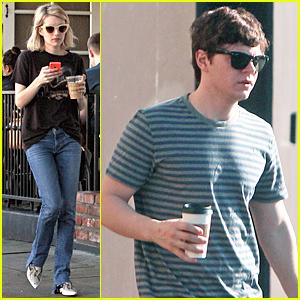 Emma Roberts & Evan Peters Enjoy Coffee Separately Ahead of Her 24th Birthday